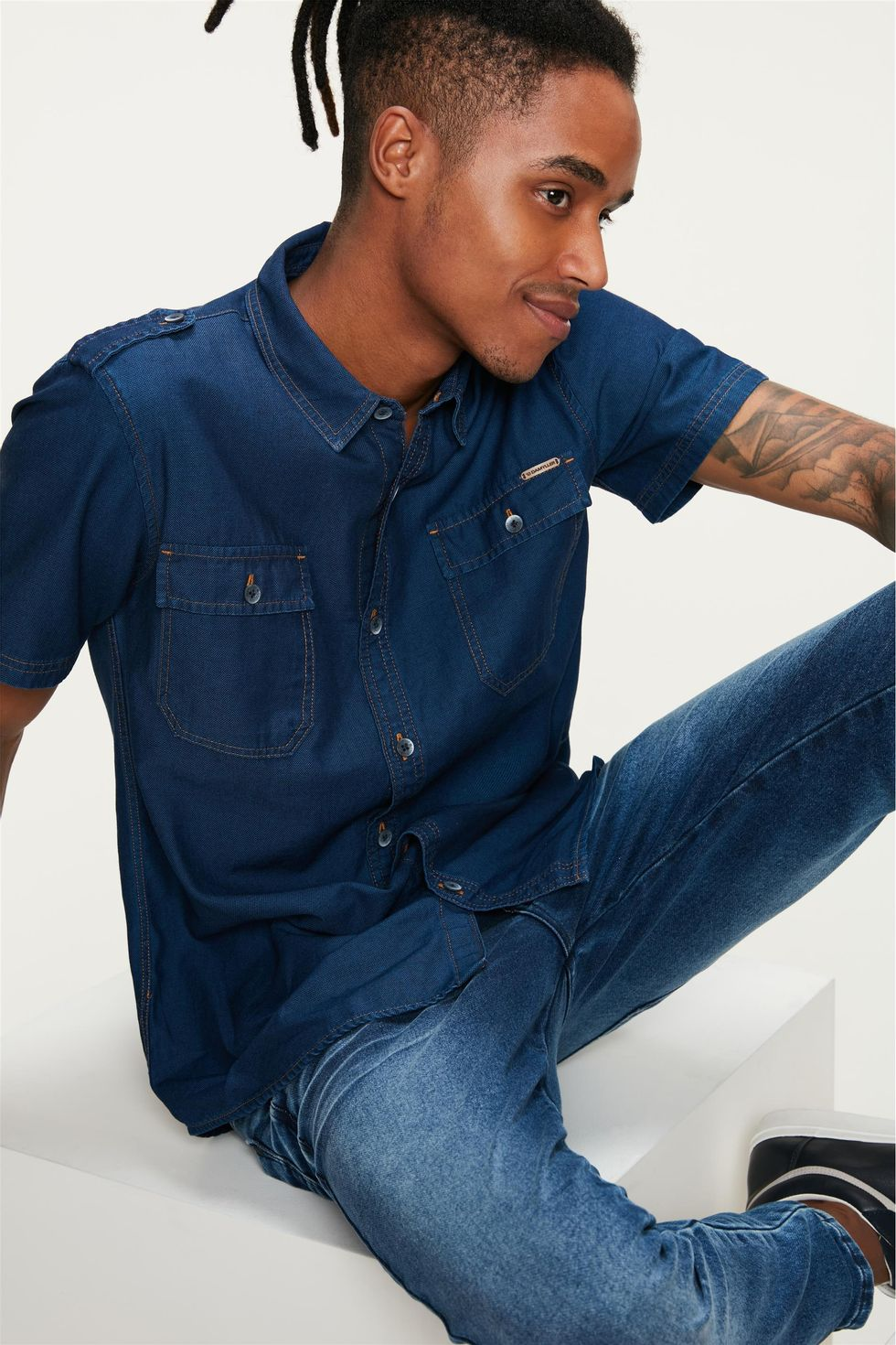 Camisa-Jeans-Utilitaria-Masculina-Frente--