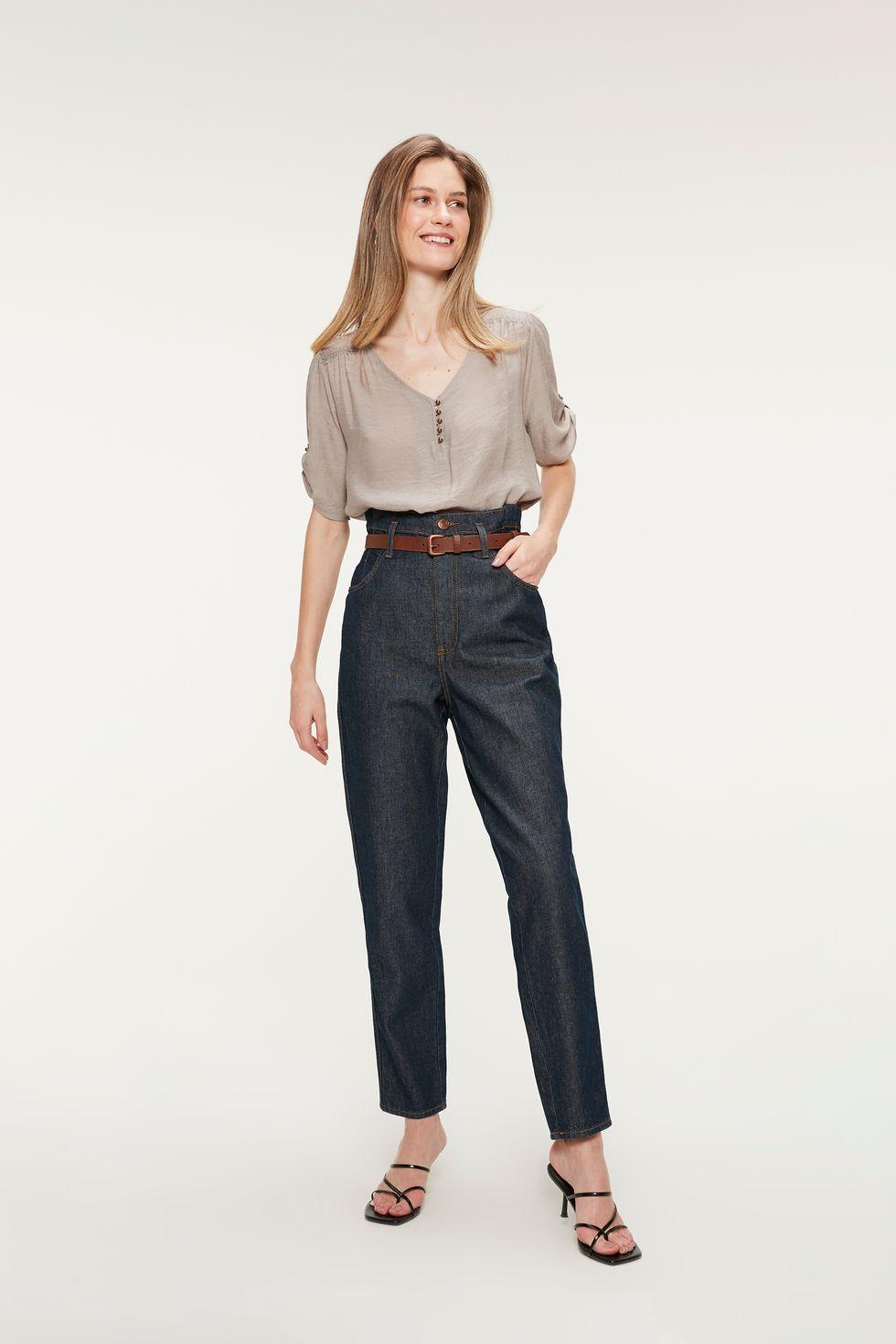 Calça Jeans Escuro Clochard Cropped Tam: 36 / Cor: ESCURA AMACIADA