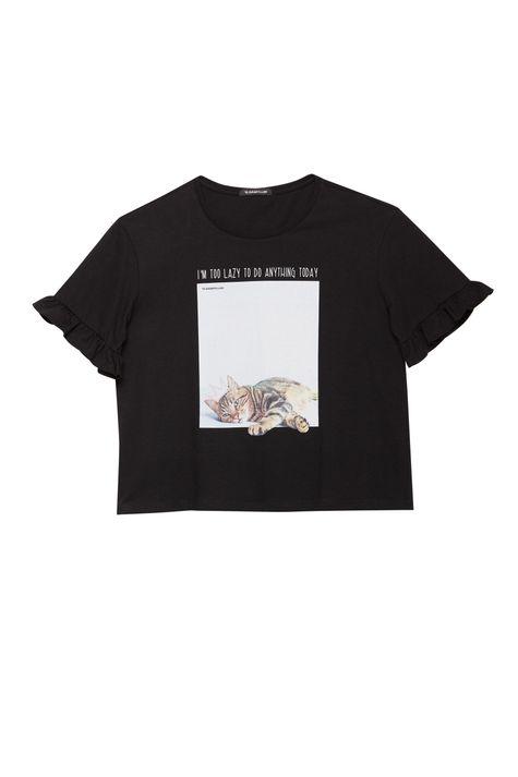 Camiseta-com-Estampa-de-Gatinha-Feminina-Detalhe-Still--