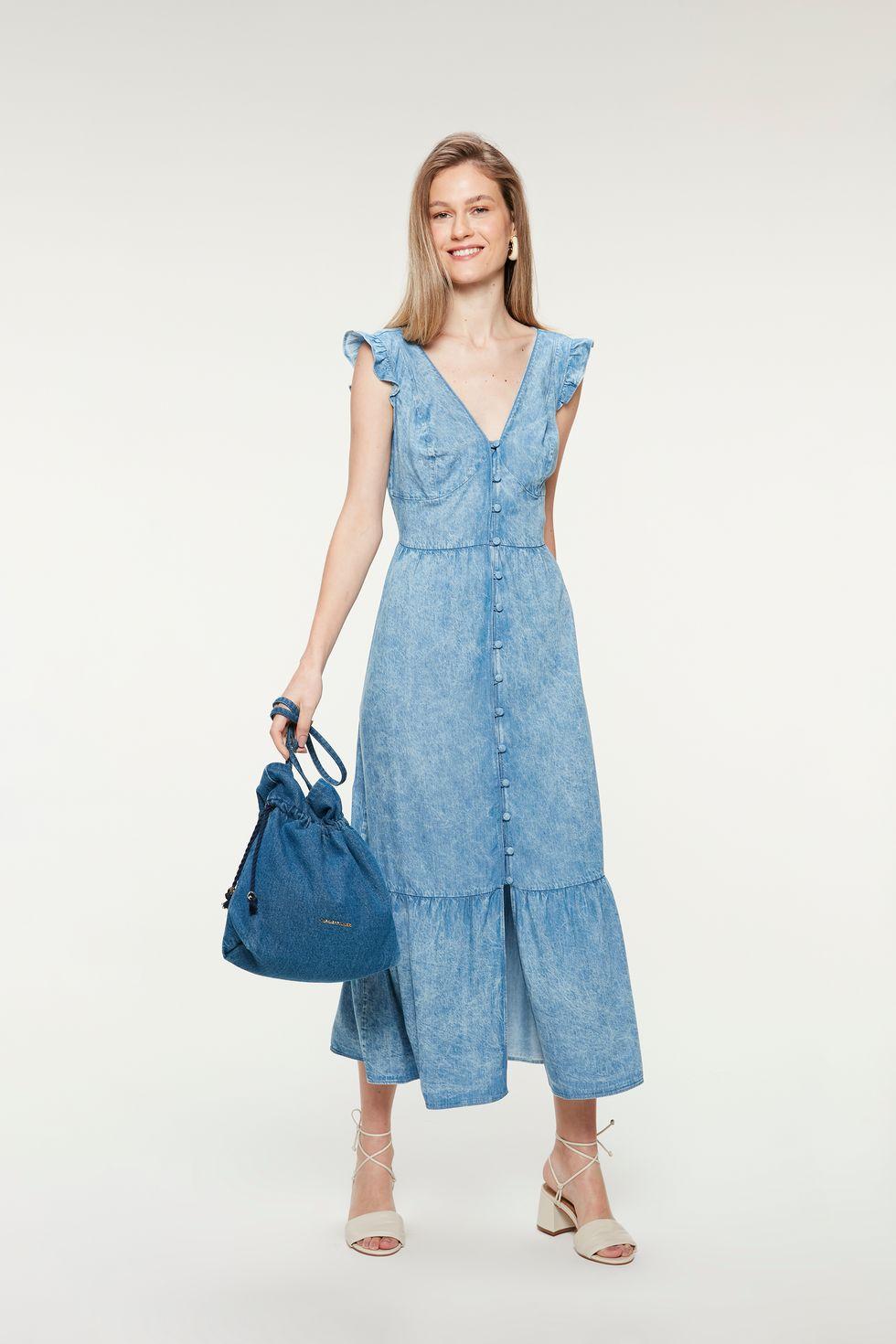 Vestido-Jeans-Midi-Marmorizado-Franzido-Frente--