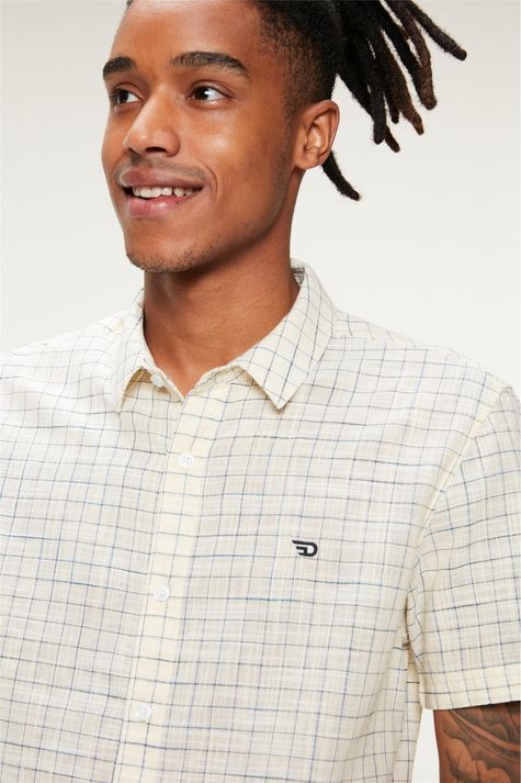 Camisa-Manga-Curta-Xadrez-Amarelo-Claro-Detalhe--