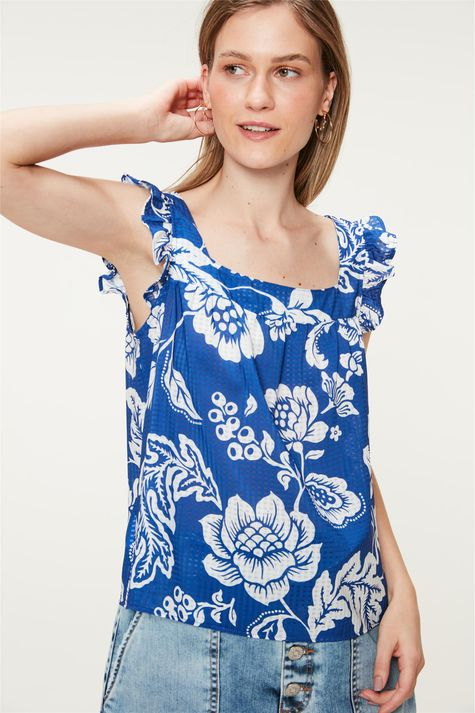 Blusa-Solta-com-Estampa-Floral-Azul-Frente--