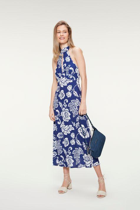 Vestido-Midi-com-Estampa-Floral-Azul-Detalhe-1--