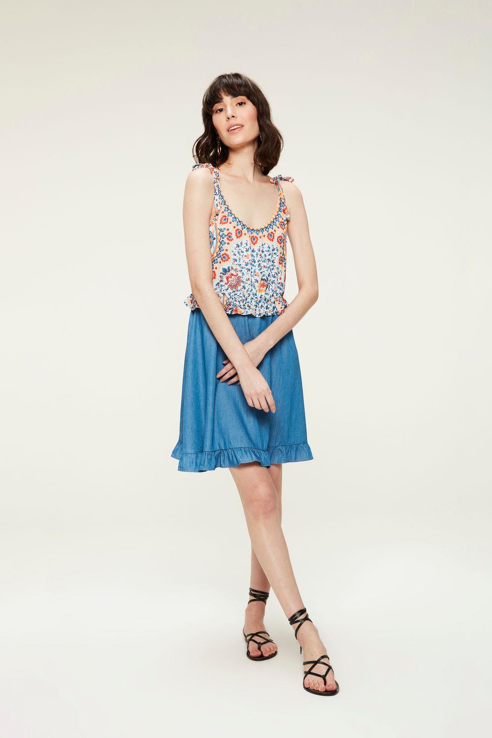 Vestido-Jeans-Estampa-Floral-Colorida-Frente--