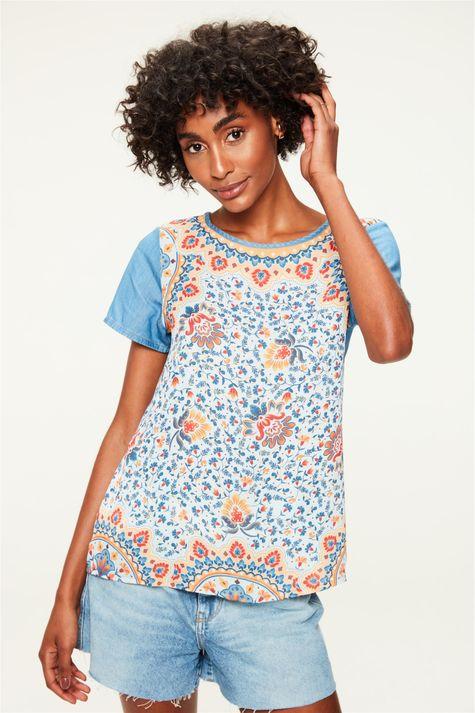 Blusa-Jeans-Estampa-Floral-Colorida-Frente--