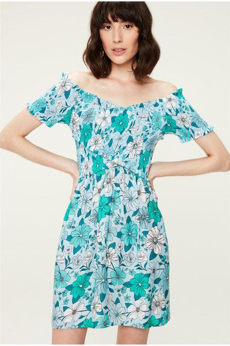 Vestido-Medio-com-Transpasse-Floral-Azul-Frente--