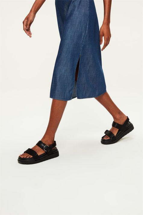Vestido-Jeans-Escuro-Midi-Franzido-Detalhe--