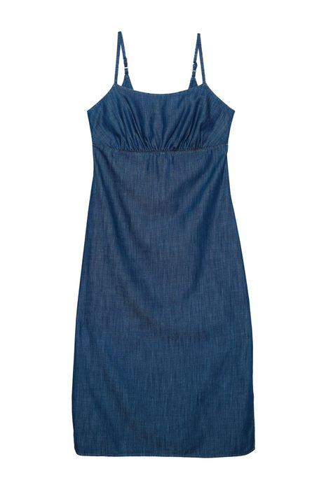 Vestido-Jeans-Escuro-Midi-Franzido-Detalhe-Still--