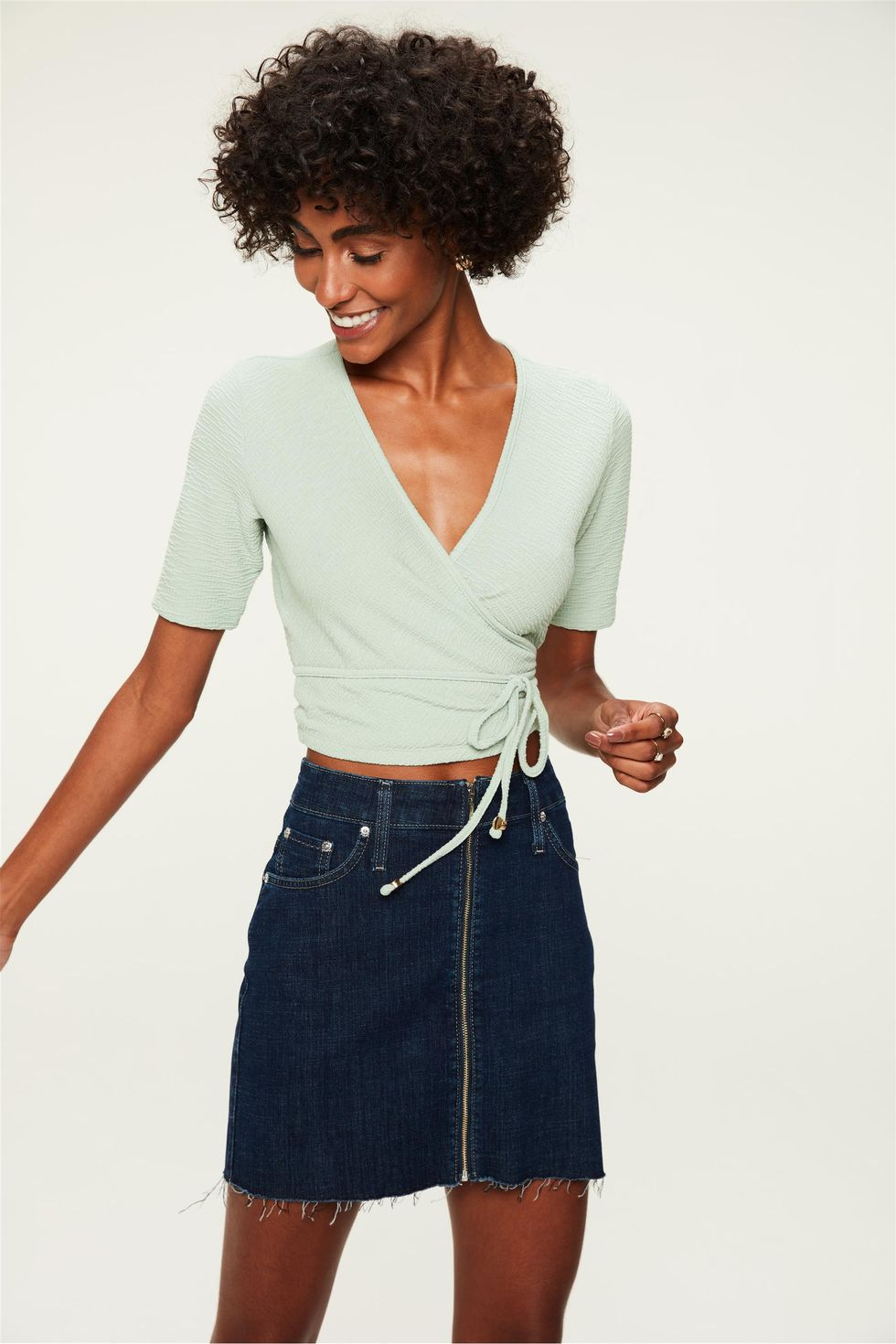 Saia-Jeans-Escuro-Mini-com-Ziper-Frente--