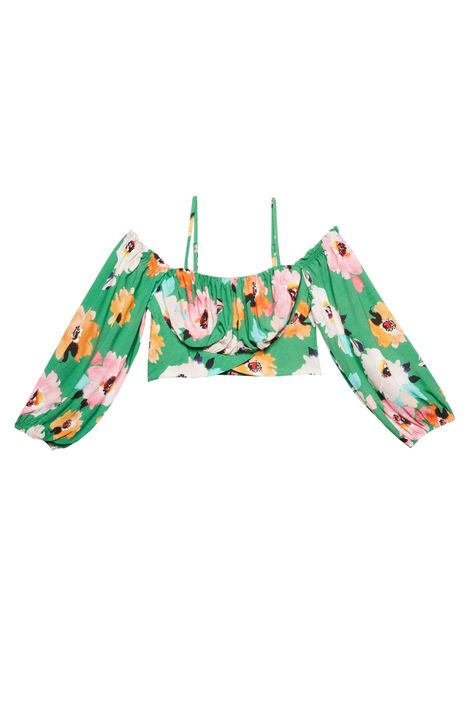 Blusa-Cropped-com-Estampa-Floral-Verde-Detalhe-Still--