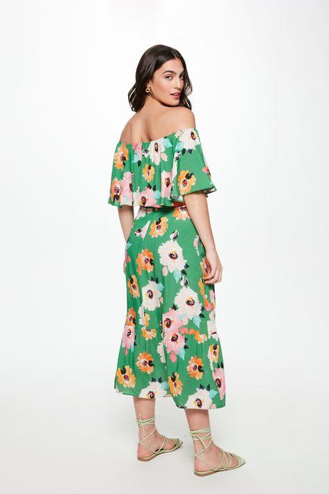 Vestido-Midi-com-Estampa-Floral-Verde-Costas--