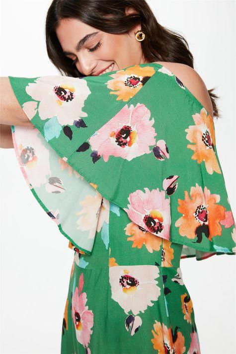Vestido-Midi-com-Estampa-Floral-Verde-Detalhe--