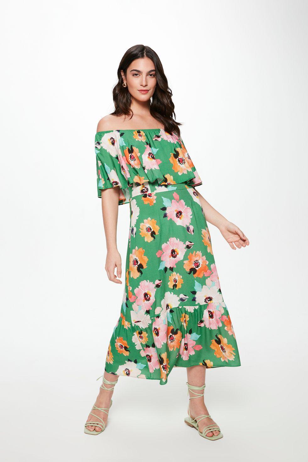 Vestido-Midi-com-Estampa-Floral-Verde-Frente--
