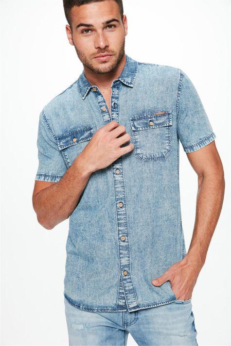Camisa-Jeans-Manga-Curta-com-Bolsos-Detalhe--