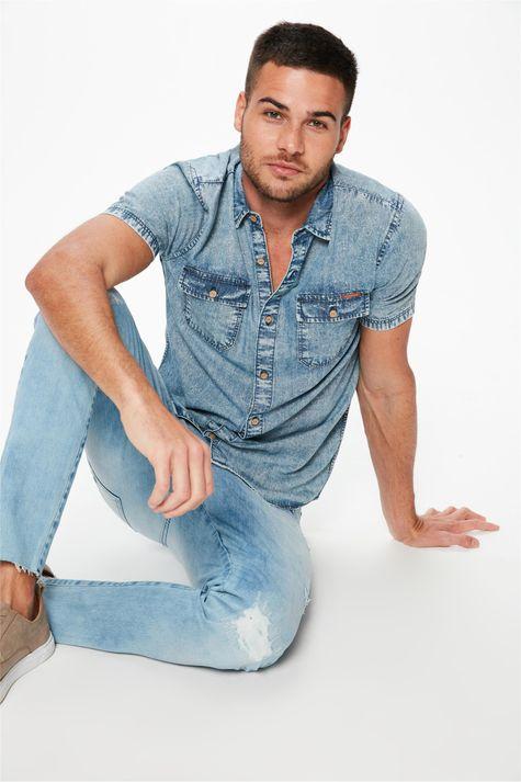 Camisa-Jeans-Manga-Curta-com-Bolsos-Frente--