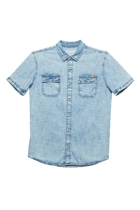 Camisa-Jeans-Manga-Curta-com-Bolsos-Detalhe-Still--
