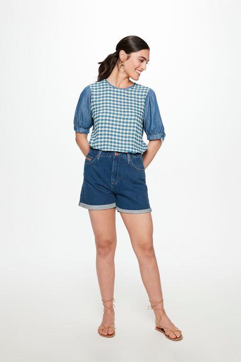 Blusa-Jeans-Meia-Manga-com-Estampa-Vichy-Detalhe-1--