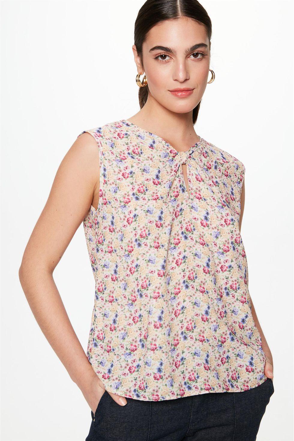 Blusa-sem-Mangas-com-Estampa-Floral-Mini-Frente--