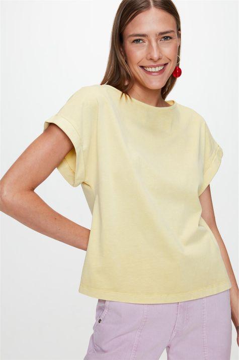 Camiseta-Lisa-com-Mangas-Dobradas-Frente--