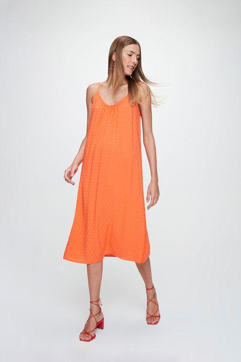 Vestido-Midi-em-Tecido-Plano-com-Textura-Costas--