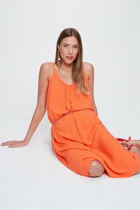 Vestido-Midi-em-Tecido-Plano-com-Textura-Frente--