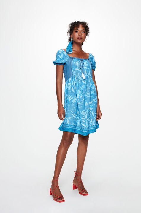Vestido-com-Estampa-de-Folhas-Azul-Frente--